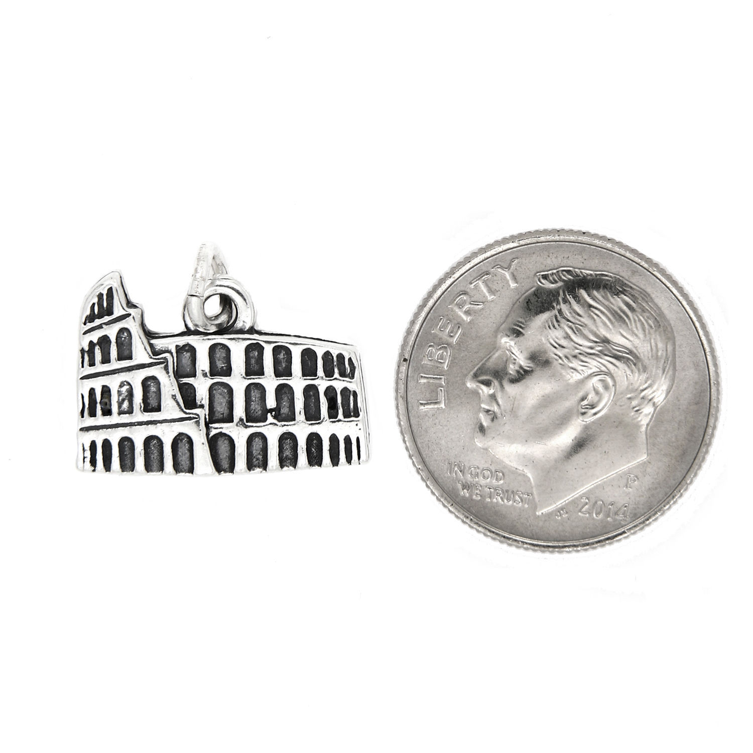 NEW STERLING SILVER SOLID COLOSSEUM CHARM PENDANT