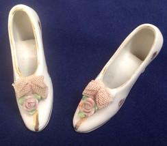 """Vintage Porcelain Miniature Shoe Japan Roses (PAIR) 3"""" - $12.99"""