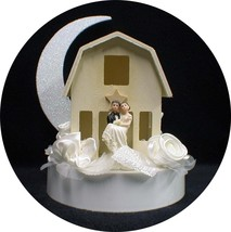Shabby wood Barn Country Western Wedding cake topper funny Chic style Moonlight - $38.61