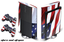 Skin Decal Wrap for PS3 Playstation Sticker Gaming Console 3 Super Slim USA FLAG - $11.76