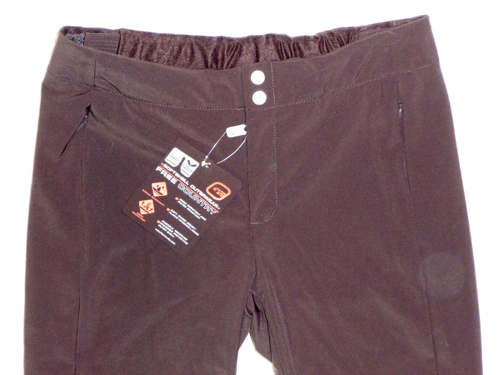 Free Country Pants Womens Ski Hike Softshell Womens Water Resistant Brown L