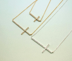 Big Rhinestone Sideways Cross charm pendant necklace - $20.00