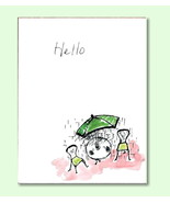 Watercolor Card Hand-painted Hello Greeting Bis... - $4.25