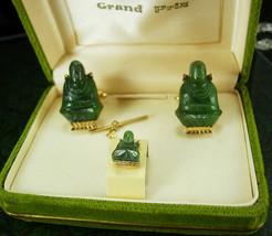 Vintage Jade Buddha Cufflinks ORIGINAL Box Tie tack Chinese Oriental Asi... - $225.00