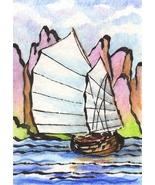 Akimova: BOAT, seascape,ACEO - $6.99