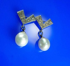 Matching Antique Pearl Brooch pins Vintage genuine pearl mother daughter... - $95.00