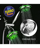 3-Way Chrome LED Shower Head/Hand Shower Combo with Air Turbo Nozzle Tec... - $49.99