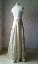 Gold Sequined Maxi Skirt High Waist Full Sequined Wedding Bridesmaid Maxi Skirts image 5