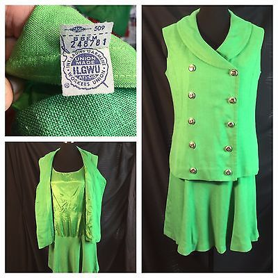 Vtg St Patricks ILGWU Mod Green Linen Mini Flip Skirt Dress Double Breasted M
