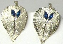 Vintage BSK Brushed Silver Tone Leaf  & Blue Rhinestone Earrings - $14.99