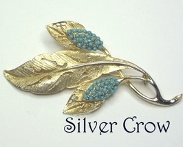 Gold Tone Pierced Work Pin Brooch with Turquoise Blue Beads - $14.99