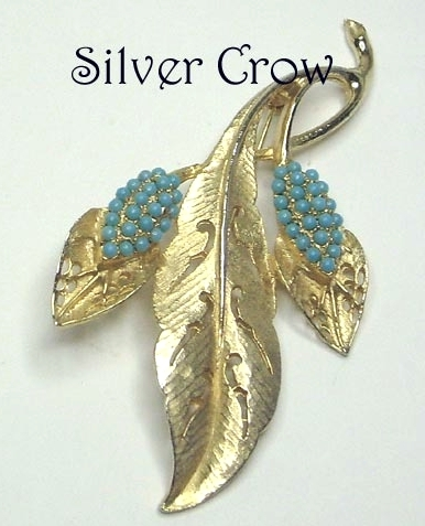 Gold Tone Pierced Work Pin Brooch with Turquoise Blue Beads
