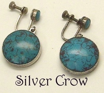 Vintage Turquoise Earrings Screw Back Style