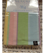 """EASTER SPRING PASTEL PINK YELLOW GREEN BLUE STRIPE TABLECLOTH 60"""" ROUND NWT - $22.99"""