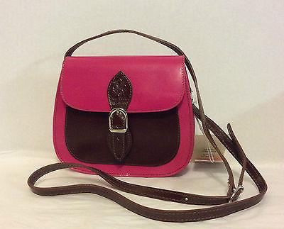 NWT Smooth Italian Leather Crossbody Shoulder Bag in Fuchsia Pink