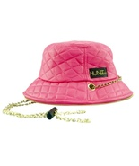 EYE HUNEE: PINK QUILTED FAUX LEATHER BUCKET HAT - $69.99