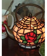 Stained Glass Teapot Accent Lamp Tiffany Style Design Night Light Table ... - $74.25
