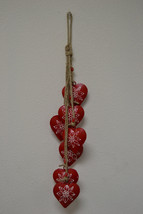 red HEART rusty IRON metal BELLS wind chime handcrafted yard art #f-913 - $12.00