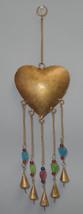 HEART rusty IRON metal BELLS wind chime handcrafted yard art #f-910 - $12.00