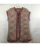 Handmade Chunky Pink White Knit Pockets Open Front Sleeveless Cardigan V... - $15.40
