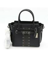 Coach Bandana Rivets Swagger 21 Black Glovetanned Leather Satchel Bag 55... - $275.00