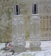 Vintage Tall Pressed Glass Square Clear Salt & Pepper Shakers - $11.50