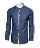 Skyrta KALDI Pin stripe denim shirt - $180.00
