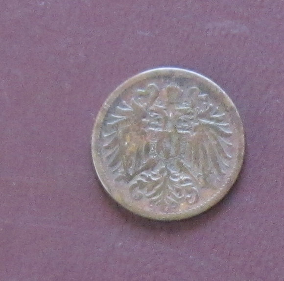 """1907, 2 Heller Au Coin. - Reverse """"Crowned Imperial Double Eagle"""" (76)"""