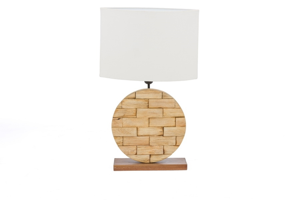 BAXTON STUDIO BUDALIN WOOD & WHITE LINEN LAMP