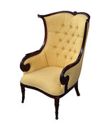 Fabulous French Country Damask/Mahogany Tall Wing Chair,44''H. - $985.05