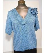 Andre Dahan Blue Glitter Tricot  V Neck Short Sleeve Size M France - $15.64
