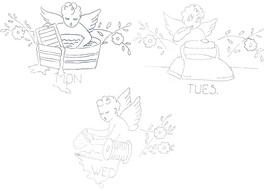 1930's CHERUBS -ANGELS dow days of week TOWELs embroidery pattern N8663  - $5.00