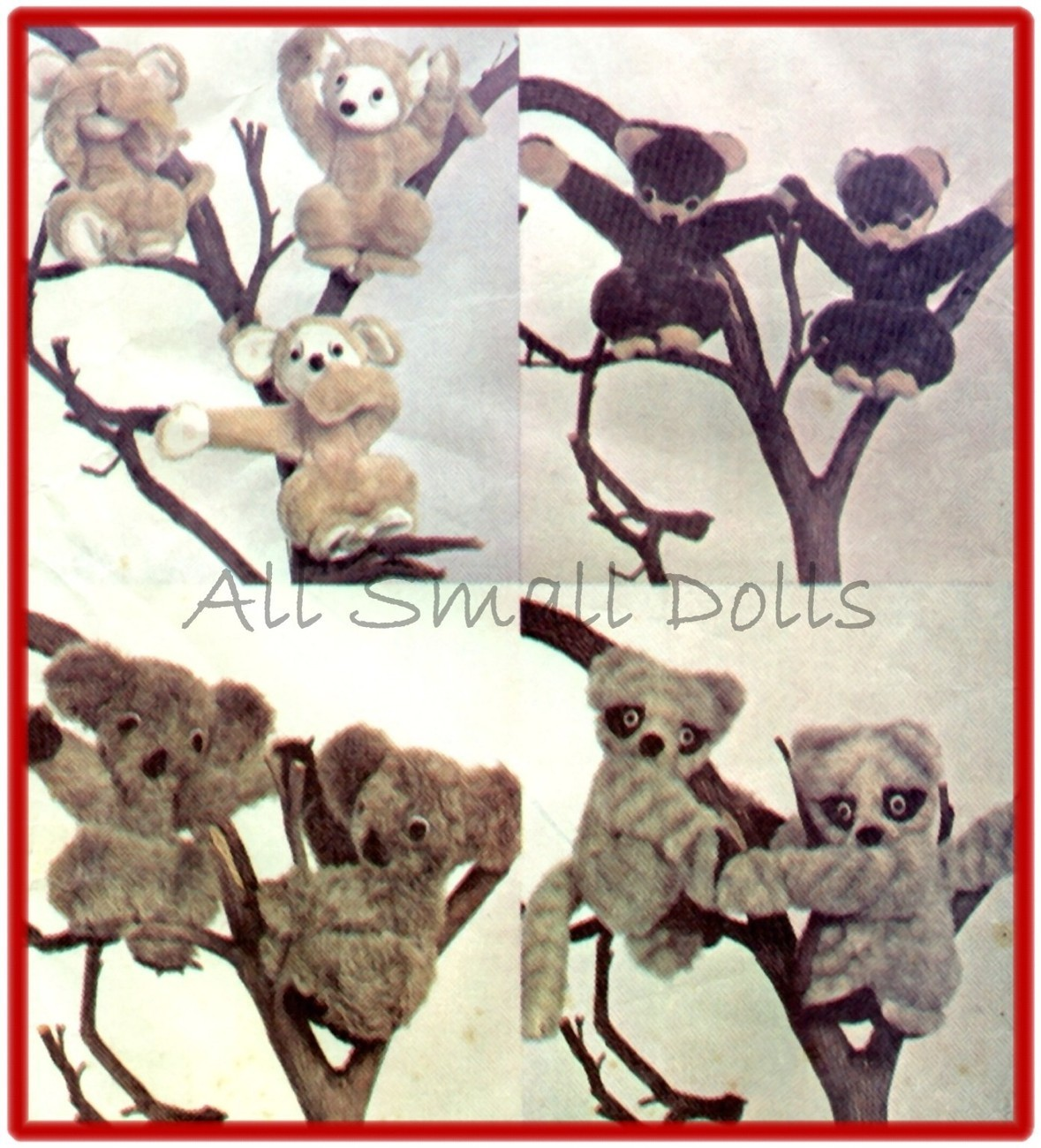 Vintage Pattern for Monkey, Koala, Bear & Racoon