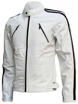 Modern Men's White Leather Jacket | LJM - $199.99
