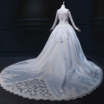 Rosyfancy Custom Off Shoulder Pearl Beaded Lace Long Sleeves Bridal Ball... - $640.00