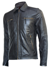 Biker Look Men's Black Leather Jacket | LJM - $199.99