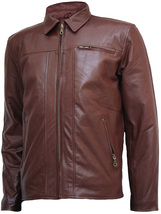 Fashion Brown Leather Jacket for Men | LJM - $199.99