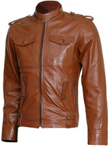 Winterwear Men Tan Leather Jacket | LJM - $199.99