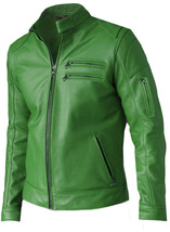 Modish Green Leather Jacket for Men | LJM - $199.99