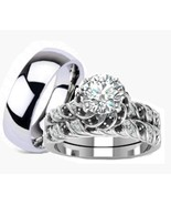 His Hers 3 Piece Wedding Engagement Ring Set St... - $54.99