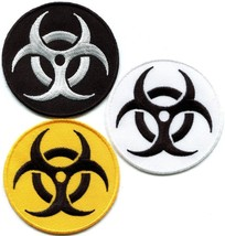 Lot of 3 biohazard danger toxic poison alert biker appliques iron-on patches new - $4.94