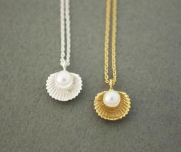 Pearl And Scallop Seashell Pendant Necklace In Silver / Gold - $13.00