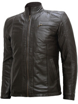 Soft Men Dark Brown Leather Jacket | LJM - $199.99