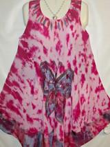 Dress Pink Blue Butterfly Batik Sleeveless Free Size Fits L to XL Free Ship - $17.75