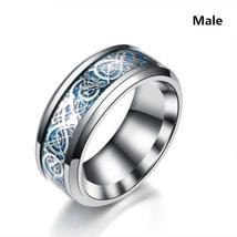 Fashion Couple Ring Female Zircon Ring Set Wedding Engagement Ring Male Stainles image 2