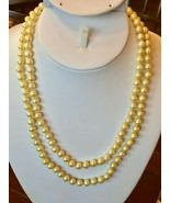 """Golden Edison Pearl Necklace 40"""" Freshwater 7mm Silver 925 strand Yellow... - $44.50"""