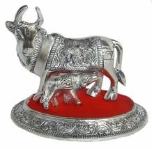 An item in the Antiques category: Plaqué Argent Vache Calf Idol Décor Maison Diwali Article Cadeau 4x4x5 inch