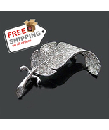Crystal Brooches Simple Small Feather New Loved Fashion Accessories Clot... - $12.00