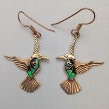 Bronze Handmade Inlay Stone Hummingbird Hook Dangle Earrings - $31.25 CAD
