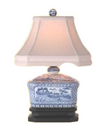 """Beautiful Blue and White Porcelain Candy Box Table Lamp Blue Willow 15"""" - $148.49"""